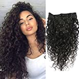 Doren Deep Curly Clip In Human Hair Extensions for Women 8Pcs 20Clips 120g 8A Virgin Remy Brazilian Wavy Curly Hair Natural Color 22 Inches