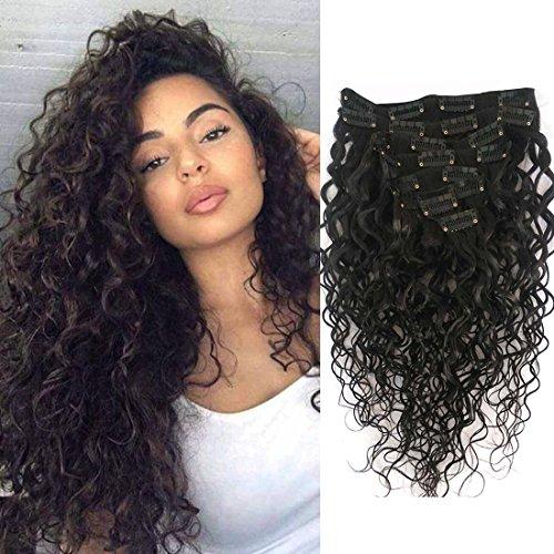Wellmi Deep Curly Clip In Menschen Haarverlängerungen für Frauen 8 Stücke 20 Clips 120g 8A Jungfrau Remy Brasilianische Welliges Lockiges Haar Natürliche Farbe 61 cm (24 Zoll)