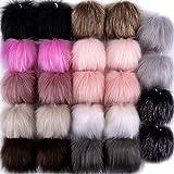 SIQUK 24 Pieces Faux Fur Pom Pom Balls Fluffy Pompoms Faux Fox Fur Pom Pom with Elastic Loop for Hats Scarves Gloves Bags Accessories(12 Colors, 2 Pcs Each Color)