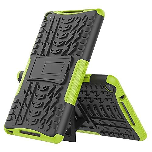 ZHIWEI Tablet PC Tasche Tablet-Abdeckung für Huawei MediaPad M5 Lite 8.0 Reifenbeschaffenheit Stoßfest TPU + PC-Schutzhülle mit Klappgriff Stehen (Color : Green)