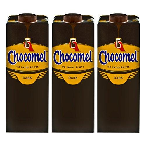 Chocomel Dark Choco Kakao Karton, 3er Set, Trinkschokolade, Holland Schoko, Dunkle Trink Schokolade, 1 L