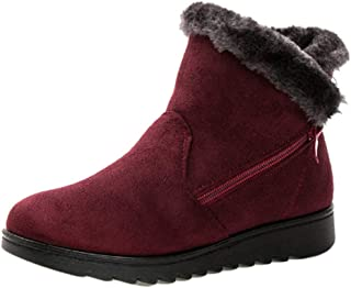 Fulision Women Snow Boots Ankle Boot Warm Snow Boots Flat Platform Winter Winter Warm Side Zipper Snow Boots