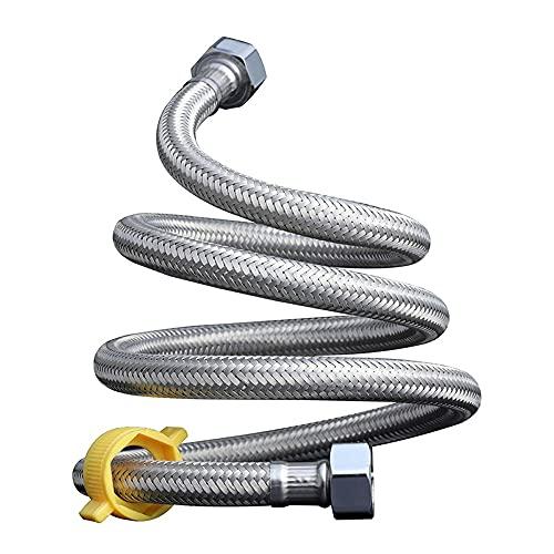 Tubo de entrada de agua de 2 piezas, 1/2 'x 1/2' BSP BSP Flexible de acero inoxidable Tubo trenzado Tubo de entrada de doble agua, para baño, inodoro Conectores de agua Conectores de agua Tubo trenzad