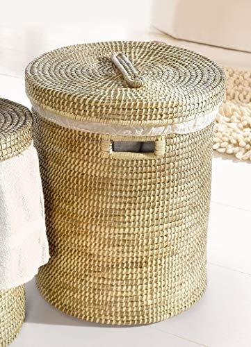 großer Wäschekorb aus Seegras, mit Deckel und herausnehmbarer Textileinlage