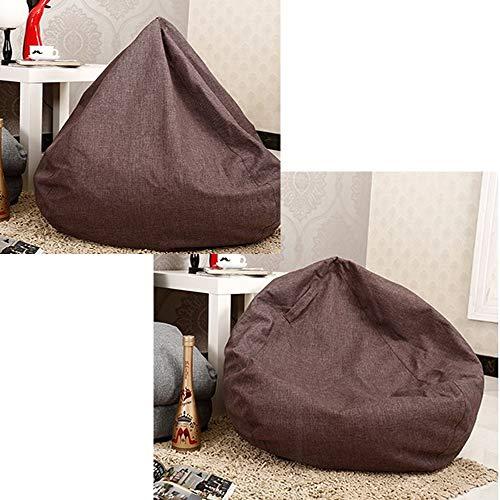 QMKJ Haute qualité en Lin Sac de Haricots Forme Libre Changement chaises Longues Chaise intérieure et extérieure de Jardin Bazaar canapé lit Adulte Enfant Ados 90CM * 90CM,Brown