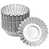 NATUCE 30 Piezas Molde de Tartaleta de Huevo Aluminio, Moldes Mini Tartaletas,Molde para Magdalenas, Moldes para Hornear, Molde del Pudin para Galletas,no Adhesivo y Reutilizable, Plateado
