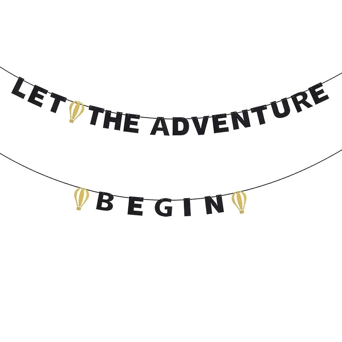 Let The Adventure Begin Banner - Glitter Hot Air Balloon Travel Graduation Retirement Birthday Party Backdrop - Kids Nursery Classroom Home Hanging Decoration