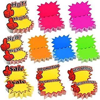 500 Piezas Etiquetas de Precio Fluorescentes Signos de Venta Starburst Etiqueta de Venta al por menor en Forma de Estrella Signos de Papel para Fiesta de Tienda, 10 Estilos