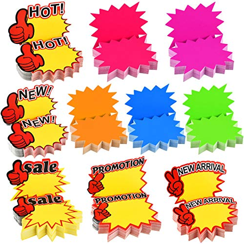 500 Pieces Burst Signs Fluorescent Signs Blank Star Shape Retail Sale Tags Burst Paper Signs for Retail Store Party Favors, 10 Styles (Regular Shape)