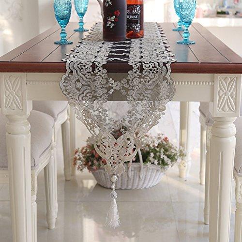 Tischläufer spitze verschönert & bestickt romantische tisch-fahnen garne aus hohlen netto tischläufer bestickt teetisch tischdecke-C 30x120cm(12x47inch)
