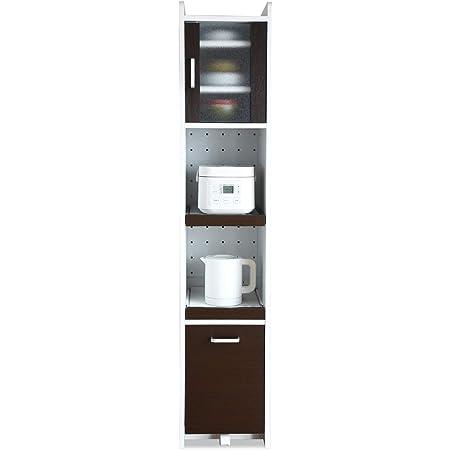 JKプラン すきま 隙間収納 キッチン ミニ 食器棚 キッチン家電収納 家電収納棚 スリム 幅 32.5 ホワイト ブラウン TSFKC0532WHDB