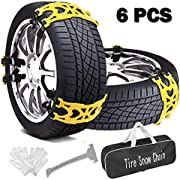 Buyplus Snow Tire Chains for Cars - Adjustable Anti Slip Emergency Tire Straps, Cars/SUV/Truck/ATV Winter Wheel Chains, Security Blocks for Vehicle