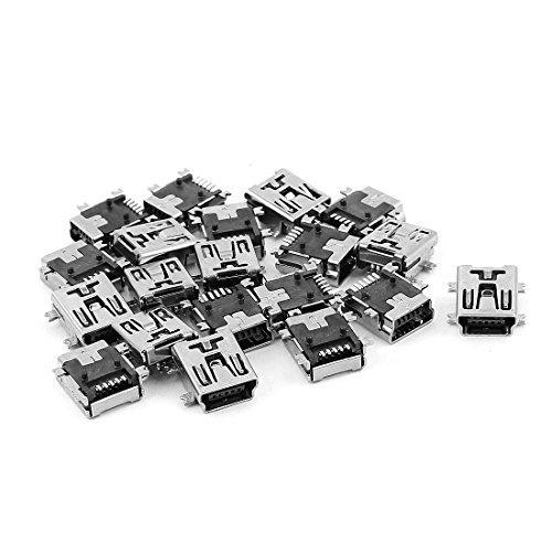 DealMux mini USB tipo B Enchufe hembra de 5 pines del conector Jack adaptador 20Pcs