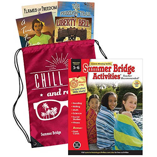Summer Bridge Activities - Essentials Backpack with Workbook, 4 Reading Books, Flash Cards and  Drawstring Bag for Summer Learning Loss, Grades 5 - 6
