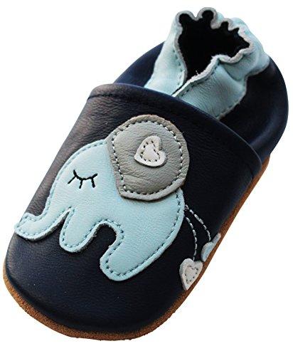 ENGEL + PIRATEN Krabbelschuhe - MARKENQUALITÄT viele Motive bis 4 Jahre Babyschuhe Leder Babyhausschuhe Lauflernschuhe Lederpuschen (22/23 EU, Elefant Blau)