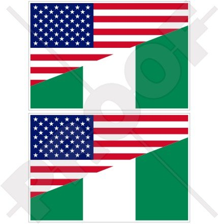 USA United States of America et drapeau du Nigeria, américain et du Nigeria 10,2 cm (100 mm) Vinyle Bumper Stickers, décalcomanies X2