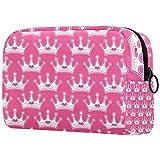 Bolsa de maquillaje de viaje de diseño único bolsa de maquillaje para mujeres y niñas rosa Girly Princess Royalty Crown