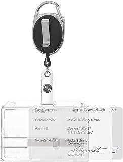 Porte-badge Karteo® avec enrouleur noir, clip et mousqueton | Porte-carte horizontal | pour deux cartes | avec deux glissi...