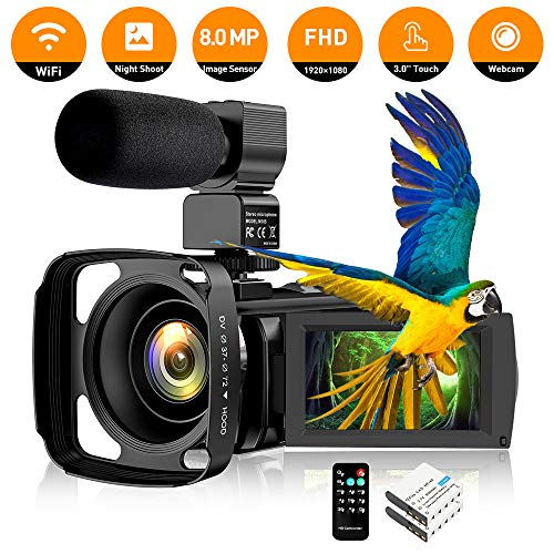 "Video Camera Camcorder IR Night Vision WiFi YouTube Vlogging Camera FHD 1080P 30FPS 26MP 3.0"" Touch Screen 16X Digital Zoom Digital Camera Video Recorder with Microphone Remote Control Lens Hood"