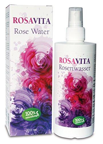 Rosavita Rosenwasser Gesichtswasser Rosendestillat, 100 Prozent Natürlich, Vegan 300ml, Gratis 8ml Probe, ohne Zusatz von Alkohol