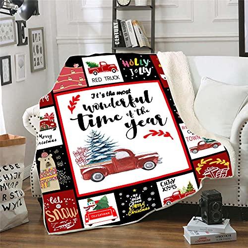 Manta Polar Muñeco de Nieve de árbol de Navidad de Coche Blanco Negro Lana Super Suave Manta Caliente de Tejido Manta Sofa para Interior,Camping,sofá y sillón reclinable 70 cm x 100 cm