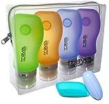 Bottiglie di Accessi di Viaggio (4) + CASO DI TOSCANA (2) + PORTAFOGLIO TSA Approvato (Blu/Arancio/Verde/Viola, 4-Pack)