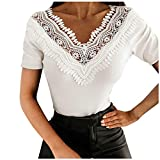 YANFANG Blusa De Manga Corta con Retazos Encaje Verano Color SóLido para Mujer,Camisa TúNica Camiseta,Blanco,S,M,L,XL