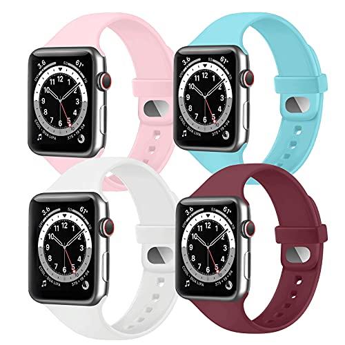 AOZZ 4-PEZZI Compatibile per Cinturino Apple Watch 40mm 38mm 42mm 44mm, Cinturini Sportivo per iWatch SE Series 6 5 4 3 2 1, Morbidi Silicone per Donne e Uomini (38MM/40MM S/M)
