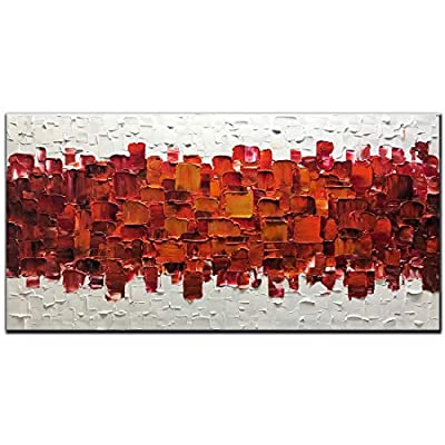 Amei Art Paintings,24X48 Inch 3D Hand-Painted On Canvas Modern Framed Red Art Abstract Oil Paintings Contemporary Artwork Art Wood Inside Framed Ready to Hang for Living Room Office from Amei Art