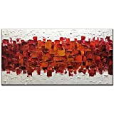 Amei Art Paintings,24X48 Inch 3D Hand-Painted On Canvas Modern Framed Red Art Textured Abstract Oil Paintings Contemporary Artwork Art Wood Inside Framed Ready to Hang for Living Room Office
