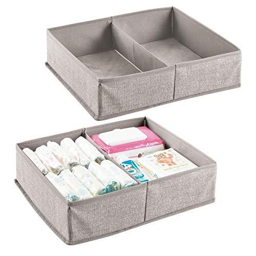 mDesign Organizador para bebés con dos compartimentos – Cesta organizadora para pañales, toallitas, etc. – Juego de 2 - Perfecta como organizador de juguetes – Color: gris