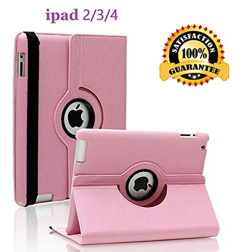 iPad 2/3/4 Case - 360 Degree Rotating Stand Smart Case Protective Cover with Auto Wake Up/Sleep Feature for Apple iPad 4, iPad 3 & iPad 2 (Pink)