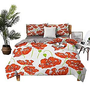 DRAGON VINES 4 Bedding Cover Set Silk Sheets Luxury Bed Sheet Set Doodle Style Poppy Anemone Field in Full Blossom May Flowers Scarlet Lime Green Black Red Quilt Cover W104 xL90