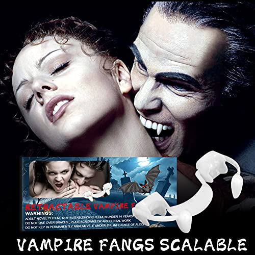 Dracula Monster Teeth for Halloween Party Cosplay,Retractable Vampire Fangs Party Props Fangs (1 set)