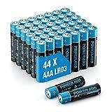 POWERADD AAA Alkaline Batterien 44er Pack, LR03 AAA Micro Batterien 1,5 V Batterien als leistungsstarke Einwegbatterien