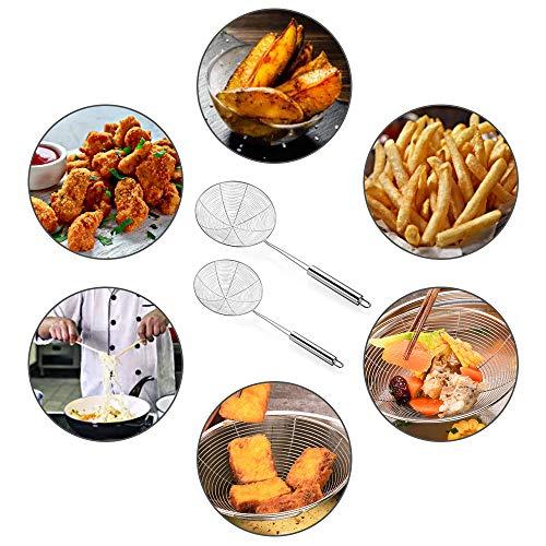 Gsrhzd espumadera, Espumadera Alambre de Acero Inoxidable, 2 tamices de cocina, utilizados para freír alimentos para filtrar el exceso de aceite, verduras para filtrar el exceso de agua (12 cm, 16 cm)