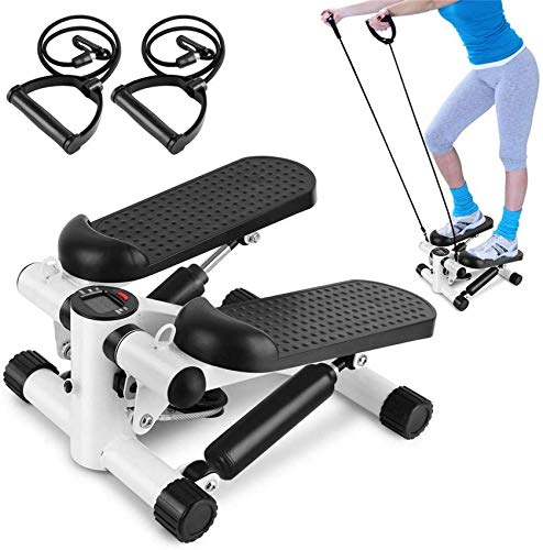 DSHUJC Fitness Stair Stepper Adjustable Mini Cardio Exercise Twisting Trainer with Lcd Monitor and Resistance Bands for Women and Man Total Body Workout