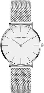 HANNAH MARTIN Reloj Análogo para Mujer con Diseño Minimalista, Maquinaria Japonesa, con Extensible de Malla de Acero Inoxi...