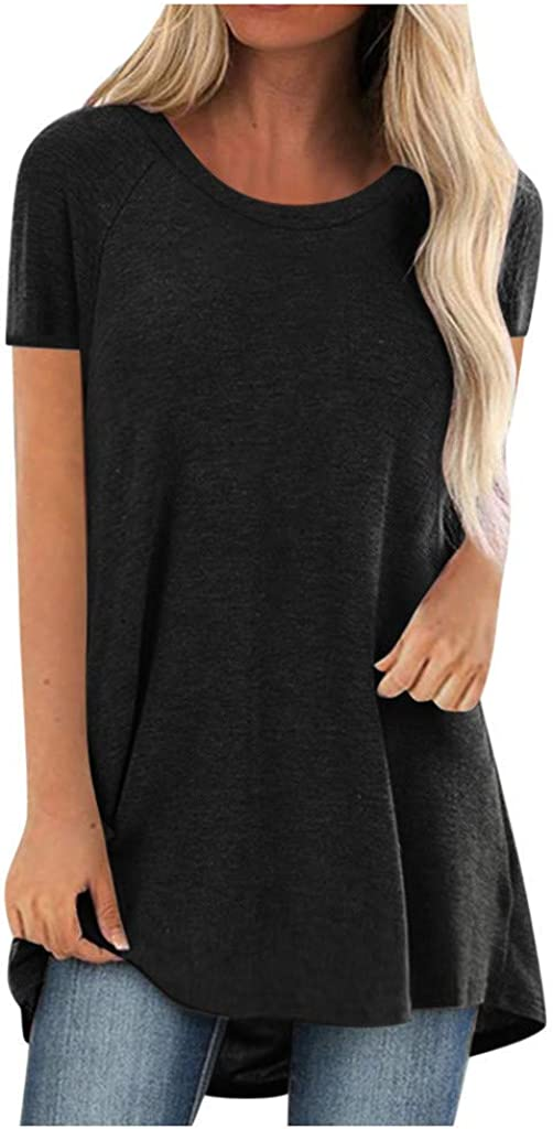 T-Shirt for Women Casual Short Sleeved Long Tee Over Size Tops Summer Tunic Round Neck Blouse