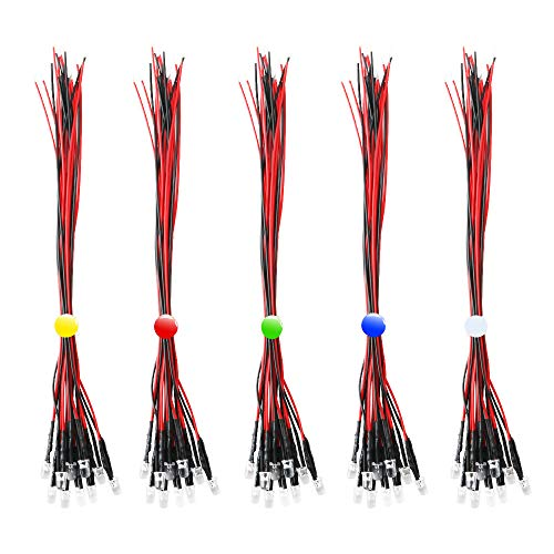 RUNCCI-YUN 50pcs color mezclado 5mm 12V LEDs pre cableado,DIY Car Boat Juguetes Flashing Partes