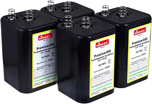 4R25 6V-Blockbatterie Ersatz für Nissen Laternenbatterie IEC 4R25 (Nissen 6V-Block 4er Set)