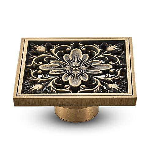 KUNGYO Vintage Badezimmer Bodenablauf Blume Geschnitzt mit Brass - Quadratischer antiker Abfluss für Toiletten Garten 10 * 10 cm