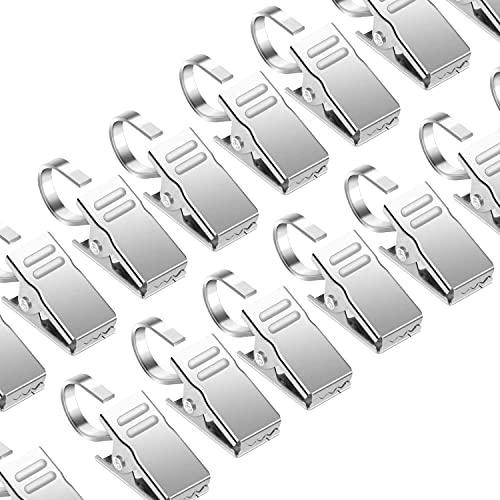 CZ Store Clip per Tende con Gancio -✮GARANZIA A VITA✮- Confezione da 50 Clip a Molla - Ganci per Tenda Doccia - Mollette in Acciaio Inox per Tendaggi e Decorazioni da Parete, Superficie Liscia