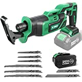 Reciprocating Saw - KIMO 20V Brushless Cordless Reciprocating Saw w/4.0Ah Battery & 1-Hour Fast Charger, 1' Stroke Length, 8 Saw Blades for Wood/Metal/PVC Pipe Cutting, Demolition, Tree Pruning