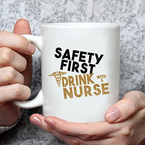 Situen Safety First Drink, With A Nurse 2 Mug - The Funny Coffee Mugs For Halloween, Holiday, Christmas Party Decoration 11-15 Ounce Cettire