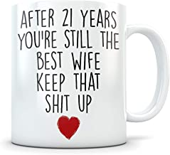 21st Anniversary Gift for Women - Funny 21 Year Wedding Anniversary for Her - Best Marriage Coffee Mug I Love You for Couples Celebrating Their Relationship