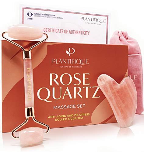 Rodillo Facial de Cuarzo Rosa Certificado e 100% Auténtico - Kit de belleza antiarrugas para tonificar y reafirmar la piel - Herramienta facial natural Gua Sha - Masajeador Facial para rostro e Ojos