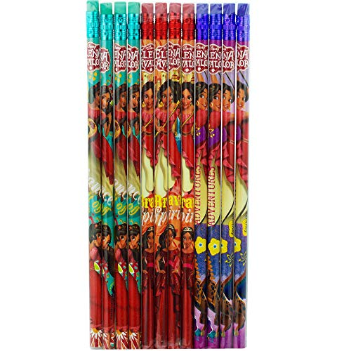 12 Disney Elena of Avalor Wooden Pencil Cartoon Character Authentic Licensed School Party Bag Fillers