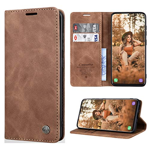 RuiPower Handyhülle für Samsung Galaxy S20 Ultra Hülle Premium Leder PU Flip Hülle Wallet Lederhülle Klapphülle Magnetisch Silikon Schutzhülle für Samsung Galaxy S20 Ultra Tasche (6.9'') - Braun