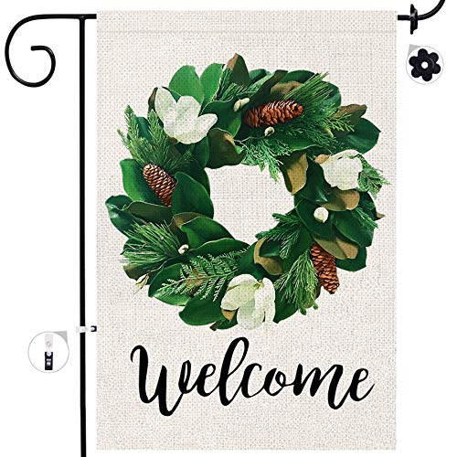 Bonsai Tree Welcome Magnolia Wreath Small Burlap Garden Flag, Double Sided Welcome Magnolia Leaves Home Banners, Fall Magnolia Flowers Pine Cones Farmhouse Yard Outdoor Decor 12.5 x 18 Prime